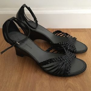 Etienne Aigner Leather Braided Sandal Heels 8